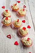 Cupcakes decorated with buttercream for Valentine's Day