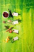Ingredients for flavoured vinegar