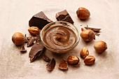 Nougat paste, hazelnuts and chocolate chunks
