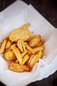 Chips on kitchen paper