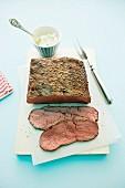 Roast beef, partly sliced