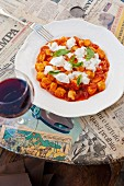 Gnocchi with tomatoes, mozzarella and basil (Italy)