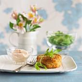 Fishcake with rocket and mayonnaise