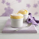 Lemon soufflé dusted with icing sugar