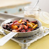 Fried peaches and plums