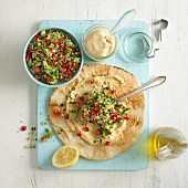 Houmous and tabbouleh on flatbread