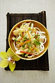 Rice noodle salad with chicken and vegetables (Asia)