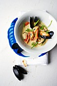 Seafood broth with mussels and venus clams