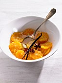 Orange salad with a vanilla pod and star anise