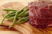 Raw Beef Tenderloin and Fresh Green Beans