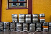 Many Empty Kegs outside of a Bar in Dublin