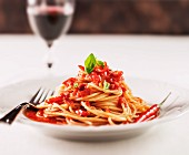Spaghetti with tomato and chilli sauce