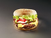 Cheeseburger with pickled gherkins, tomatoes and onions