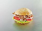 Doner kebab meat sandwich with tomatoes and onions