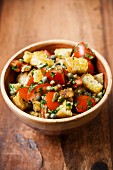 Bread salad with tomatoes and capers