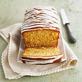 Lemon cake with stripes of glac