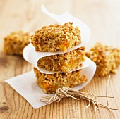 Apricot and hazelnut flapjacks, stacked
