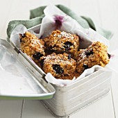 Blueberry flapjacks in a picnic box