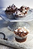Rocky Road cupcakes with chocolate and marshmallows
