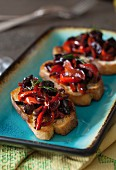 Red Peppers Melted with Fig Balsamic Vinegar Crostini