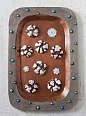 Chocolate cookies on a tray