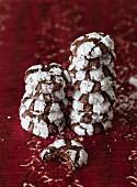 Schokoladen-Minz-Plätzchen, gestapelt