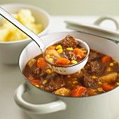 Beef stew with potatoes, sweetcorn and carrots