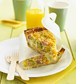 Quiche made with ham, sweetcorn and leek