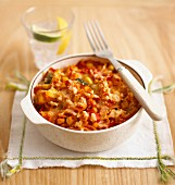Pasta bake with fusilli and vegetables