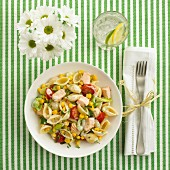 Pasta salad with pasta shells, salmon and vegetables (view from above)