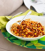 Spaghetti bolognese with sweetcorn