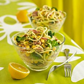 Pasta salad with tuna, sweetcorn and broccoli
