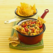 Vegetable chilli with rice and tortilla chips