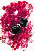 Cherries on frozen redcurrants