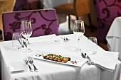 Entrecote steak, sliced, in a restaurant