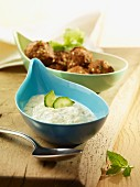 Oriental meatballs with cucumber yoghurt