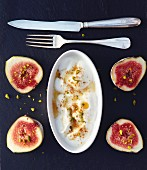 Greek yoghurt with pistachios, wild honey and figs
