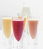 Mango shake, berry shake, plum shake, chocolate & banana shake