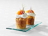 Savoury cheese cupcakes with sour cream and caviar