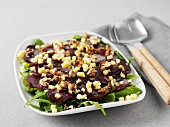 Beetroot salad with walnuts and cubes of V