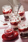 Parfait with Homemade Strawberry Jam and Chocolate Granola in a Jar