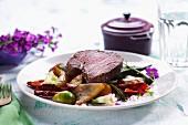 Fillet of beef on vegetables