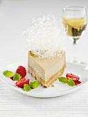 A slice of coffee cheesecake with spun sugar