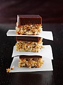 Chocolate coconut slices, stacked