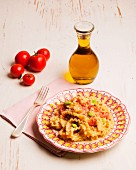 Lasagnette pasta with bean ragout and olives (Puglia, Italy)