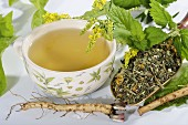 Herbal tea made from herbs, flowers and medicinal plants