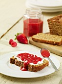 Bread topped with raspberry & strawberry jam