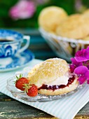 Scone with cream and marmalade