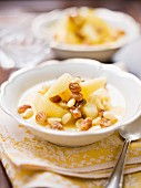 Polenta dessert with stewed apple