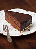 A slice of Sachertorte (rich chocolate cake from Austria)